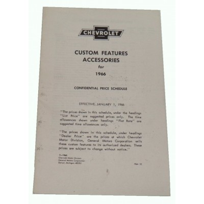 USED 1966 CUSTOM FEATURES BOOKLET